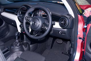 Interior view of our new automatic Mini Cooper