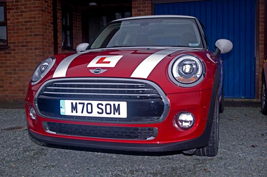 Front view of our automatic Mini Cooper that you learn to drive in